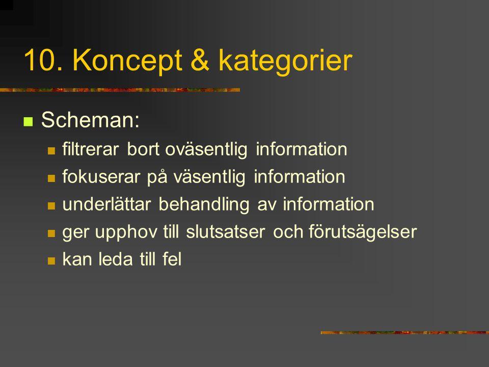 10. Koncept & kategorier Scheman: filtrerar bort oväsentlig information fokuserar på väsentlig information underlättar behandling av information ger u