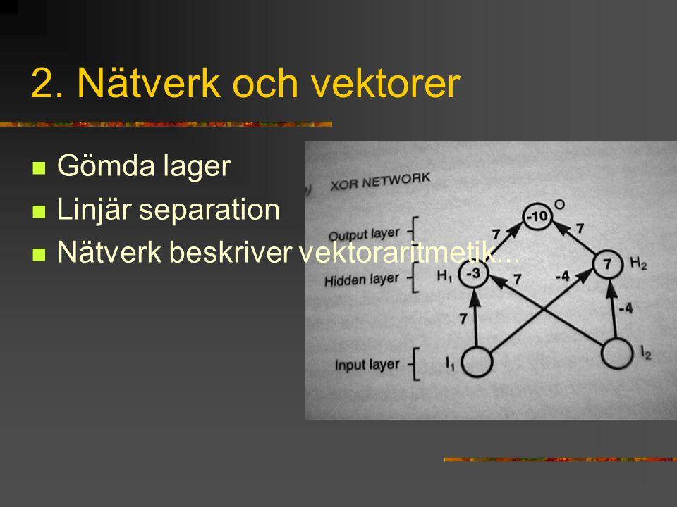 2. Nätverk och vektorer Gömda lager Linjär separation Nätverk beskriver vektoraritmetik...