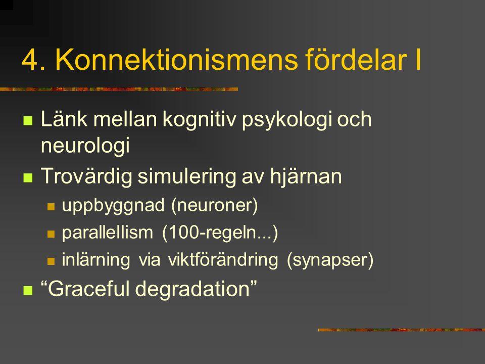 4. Konnektionismens fördelar I Länk mellan kognitiv psykologi och neurologi Trovärdig simulering av hjärnan uppbyggnad (neuroner) parallellism (100-re