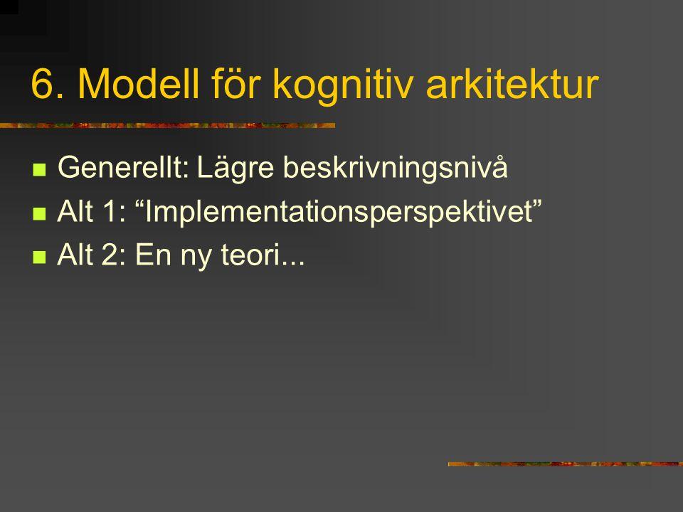 """6. Modell för kognitiv arkitektur Generellt: Lägre beskrivningsnivå Alt 1: """"Implementationsperspektivet"""" Alt 2: En ny teori..."""
