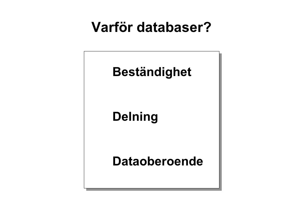 Varför databaser? Beständighet Delning Dataoberoende