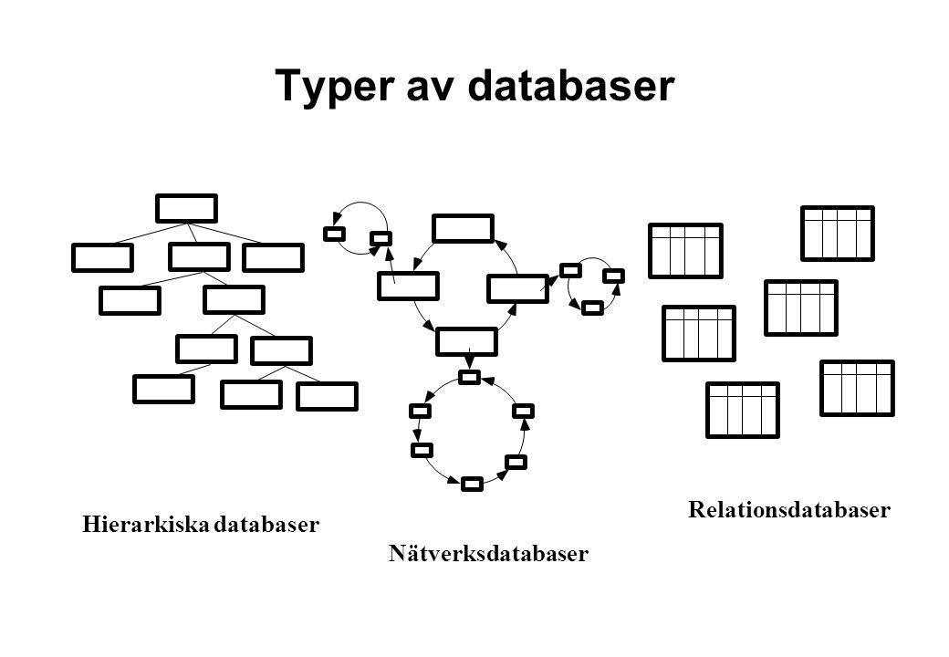 Hierarkiska databaser Nätverksdatabaser Relationsdatabaser Typer av databaser