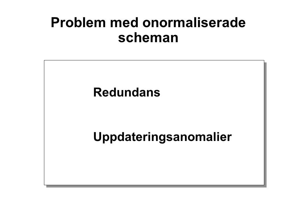 Problem med onormaliserade scheman Redundans Uppdateringsanomalier