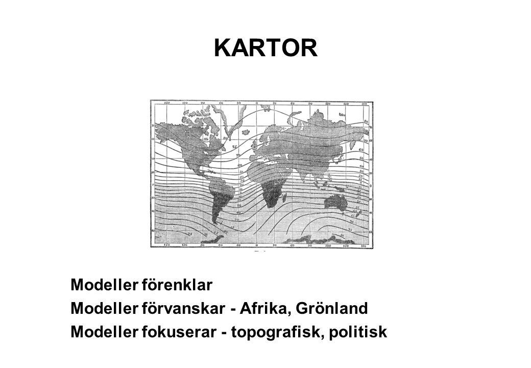 KARTOR Modeller förenklar Modeller förvanskar - Afrika, Grönland Modeller fokuserar - topografisk, politisk