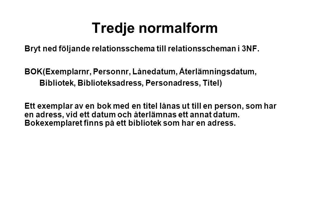 Tredje normalform Bryt ned följande relationsschema till relationsscheman i 3NF.