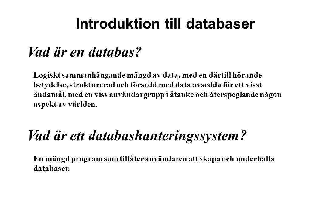 Vad är en databas? Logiskt sammanhängande mängd av data, med en därtill hörande betydelse, strukturerad och försedd med data avsedda för ett visst änd