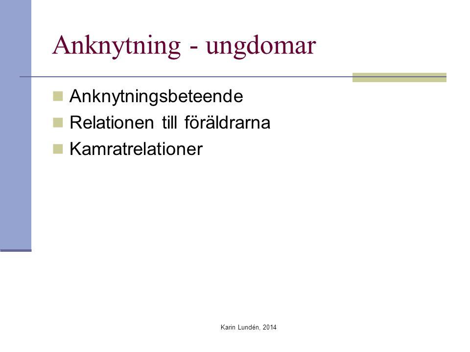 Anknytning - ungdomar Anknytningsbeteende Relationen till föräldrarna Kamratrelationer Karin Lundén, 2014