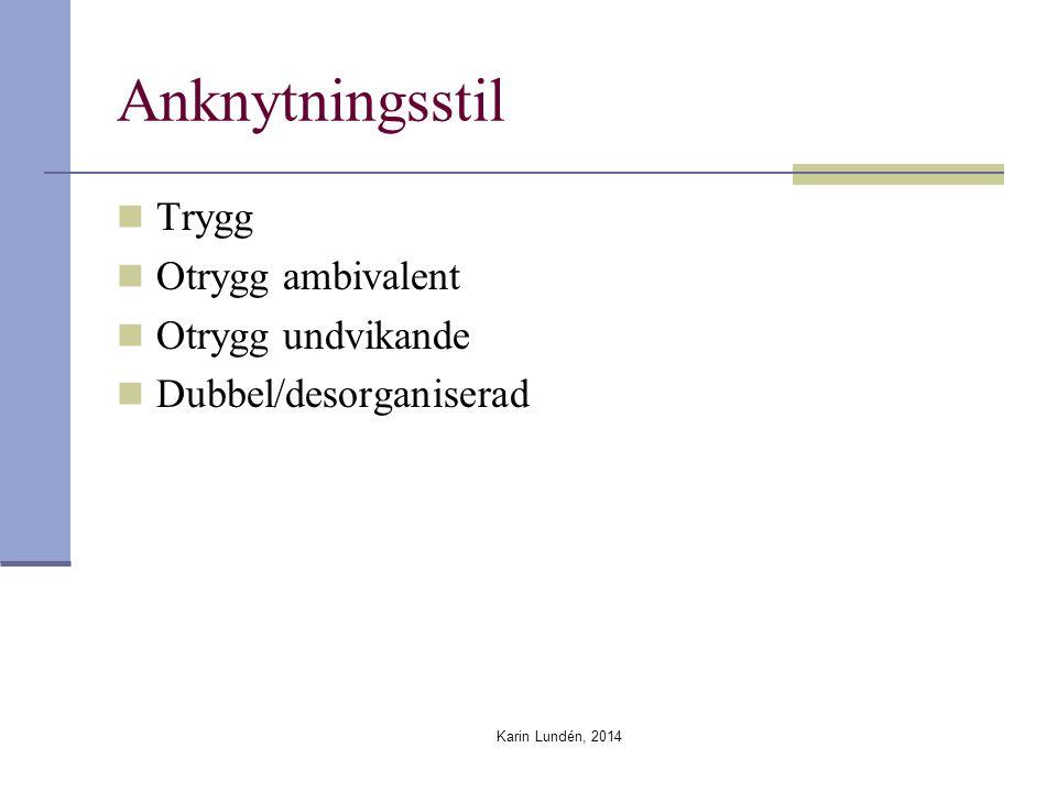 Anknytningsstil Trygg Otrygg ambivalent Otrygg undvikande Dubbel/desorganiserad Karin Lundén, 2014