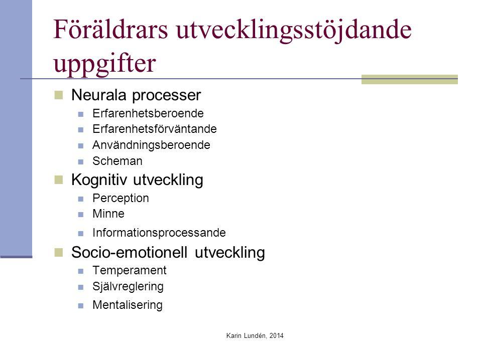 Karin Lundén, 2014 Föräldrars utvecklingsstöjdande uppgifter Neurala processer Erfarenhetsberoende Erfarenhetsförväntande Användningsberoende Scheman Kognitiv utveckling Perception Minne Informationsprocessande Socio-emotionell utveckling Temperament Självreglering Mentalisering