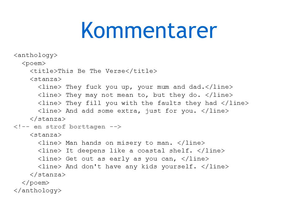 Kommentarer This Be The Verse They fuck you up, your mum and dad.