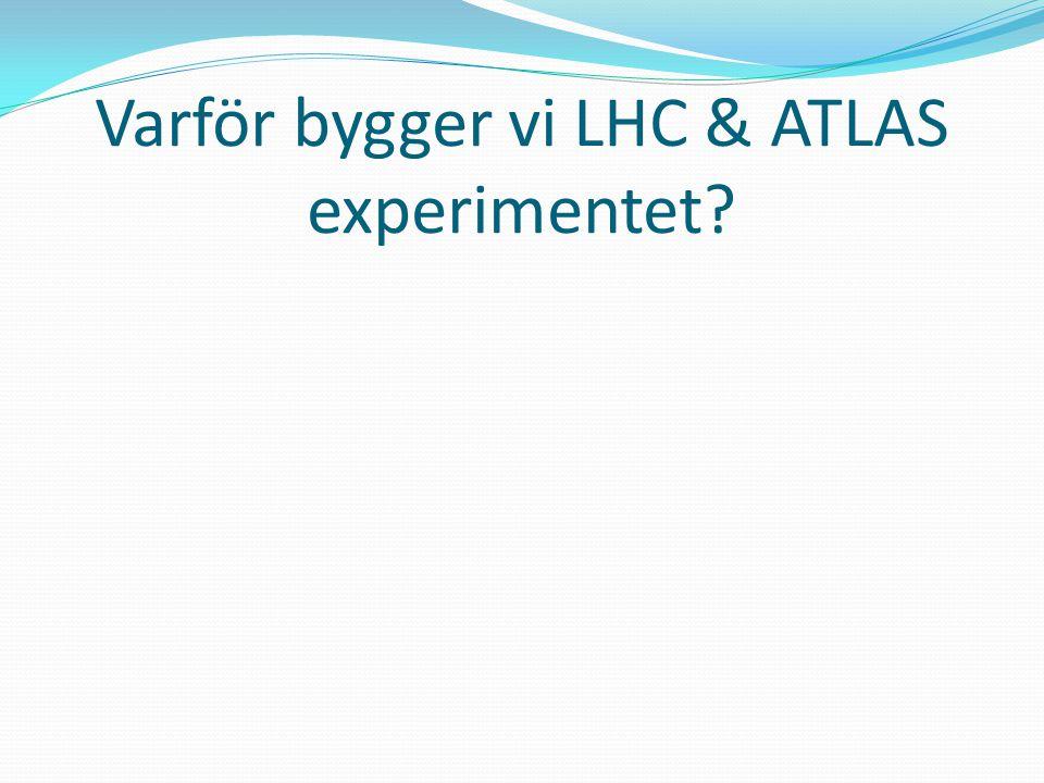 Large Hadron Collider (LHC) = Stor Hadron Kolliderare (27km) p-p med 14 TeV Large Hadron Collider (LHC) = Stor Hadron Kolliderare (27km) p-p med 14 TeV Hadron = Partiklar som består av kvarkar tex: protoner, och bly kärnor (= många protoner och neutroner) Hadron = Partiklar som består av kvarkar tex: protoner, och bly kärnor (= många protoner och neutroner) ATLAS ALICE LHC-B CMS