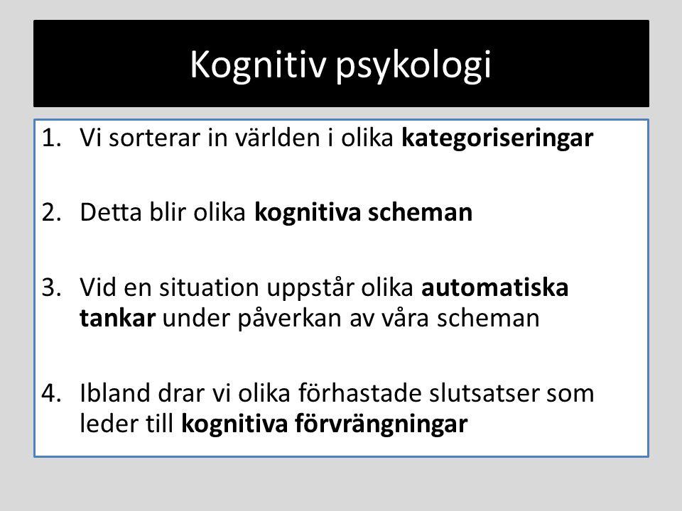 Kognitiv psykologi 1.Vi sorterar in världen i olika kategoriseringar 2.Detta blir olika kognitiva scheman 3.Vid en situation uppstår olika automatiska tankar under påverkan av våra scheman 4.Ibland drar vi olika förhastade slutsatser som leder till kognitiva förvrängningar