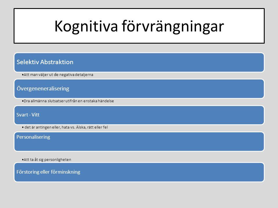 Kognitiva förvrängningar Selektiv Abstraktion Att man väljer ut de negativa detaljerna Övergeneneralisering Dra allmänna slutsatser utifrån en enstaka