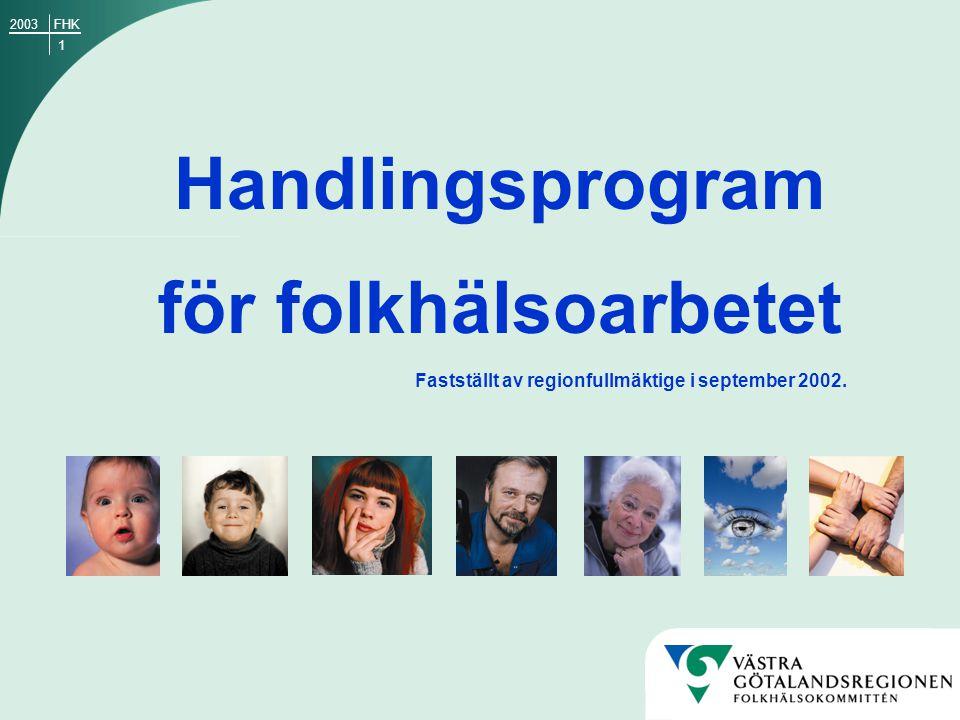 1 Handlingsprogram för folkhälsoarbetet Fastställt av regionfullmäktige i september 2002. FHK2003