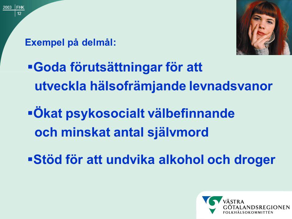 12 FHK2003 Exempel på delmål:  Goda förutsättningar för att utveckla hälsofrämjande levnadsvanor  Ökat psykosocialt välbefinnande och minskat antal självmord  Stöd för att undvika alkohol och droger