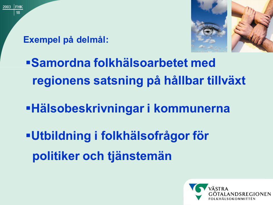18 FHK2003 Exempel på delmål:  Samordna folkhälsoarbetet med regionens satsning på hållbar tillväxt  Hälsobeskrivningar i kommunerna  Utbildning i folkhälsofrågor för politiker och tjänstemän