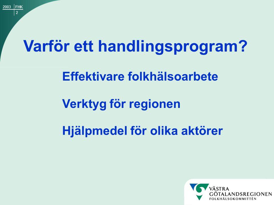 13 7 delmål med fokus på arbetet och fritiden som hälsofrämjande arenor Hälsosamt vuxenliv och arbetsliv Inriktningsmål 4: FHK2003