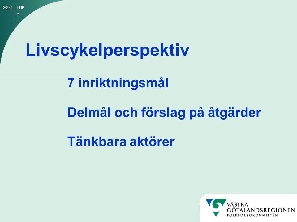 17 9 delmål med fokus på samverkan och kompetenshöjning Folkhälsoarbetets förutsättningar Kunskapsbehov Inriktningsmål 6 och 7: FHK2003