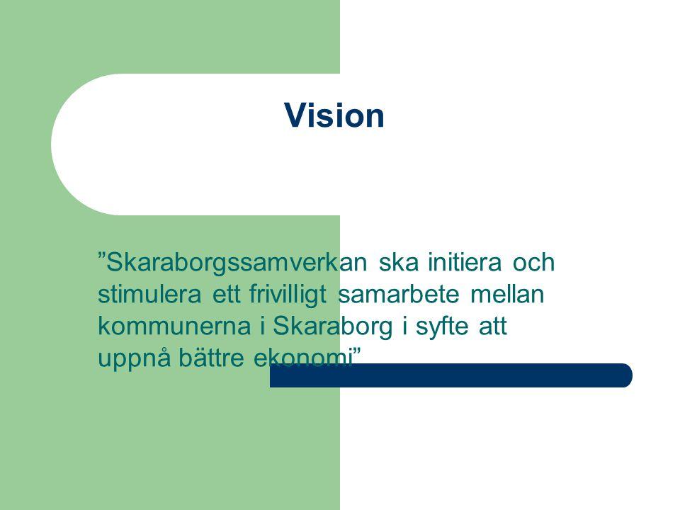 Vision Skaraborgssamverkan ska initiera och stimulera ett frivilligt samarbete mellan kommunerna i Skaraborg i syfte att uppnå bättre ekonomi