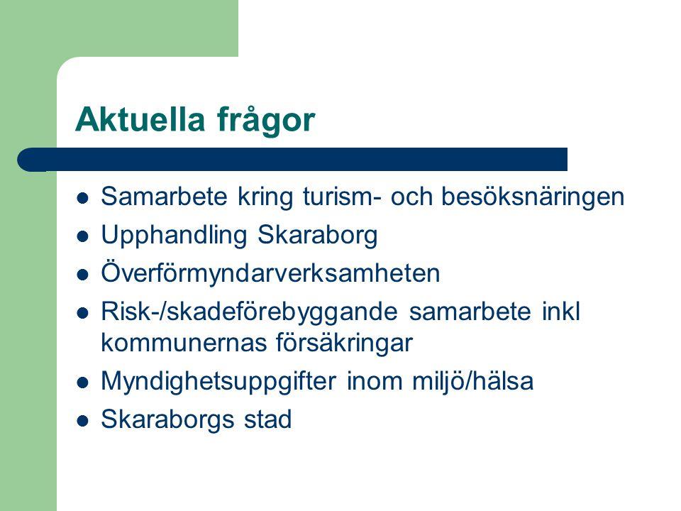Aktuella frågor Samarbete kring turism- och besöksnäringen Upphandling Skaraborg Överförmyndarverksamheten Risk-/skadeförebyggande samarbete inkl kommunernas försäkringar Myndighetsuppgifter inom miljö/hälsa Skaraborgs stad