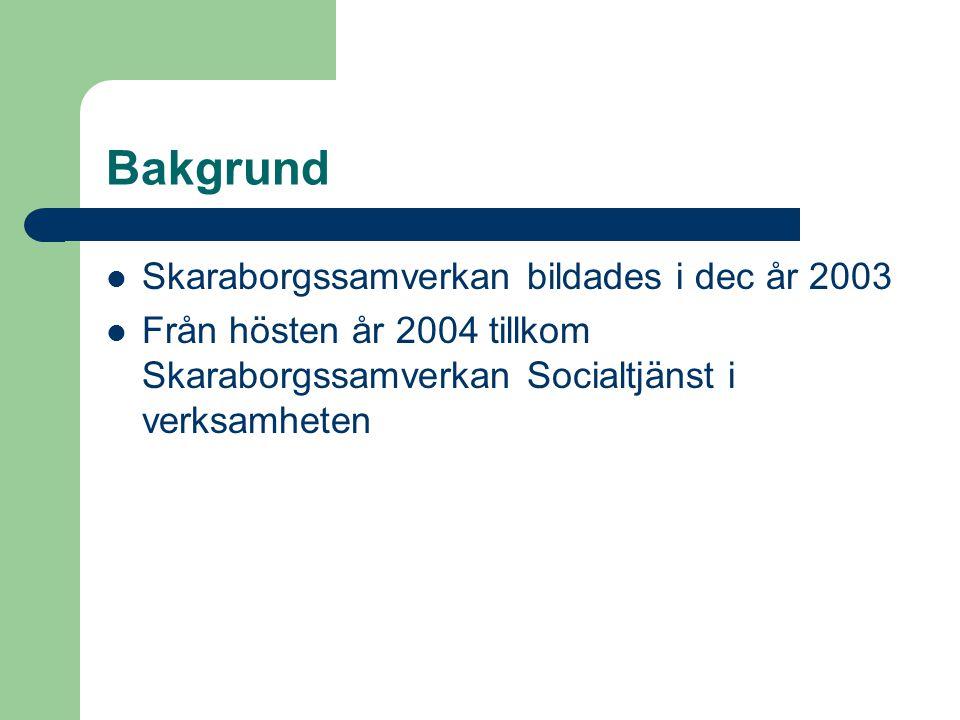 Bakgrund Skaraborgssamverkan bildades i dec år 2003 Från hösten år 2004 tillkom Skaraborgssamverkan Socialtjänst i verksamheten
