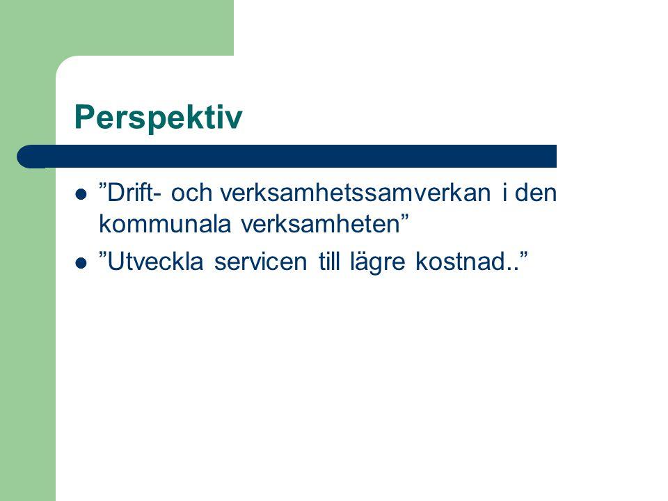 Perspektiv Drift- och verksamhetssamverkan i den kommunala verksamheten Utveckla servicen till lägre kostnad..