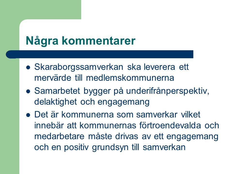 Några kommentarer Skaraborgssamverkan ska leverera ett mervärde till medlemskommunerna Samarbetet bygger på underifrånperspektiv, delaktighet och engagemang Det är kommunerna som samverkar vilket innebär att kommunernas förtroendevalda och medarbetare måste drivas av ett engagemang och en positiv grundsyn till samverkan