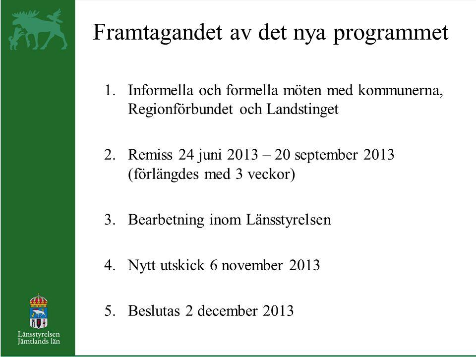 Framtagandet av det nya programmet 1.Informella och formella möten med kommunerna, Regionförbundet och Landstinget 2.Remiss 24 juni 2013 – 20 septembe