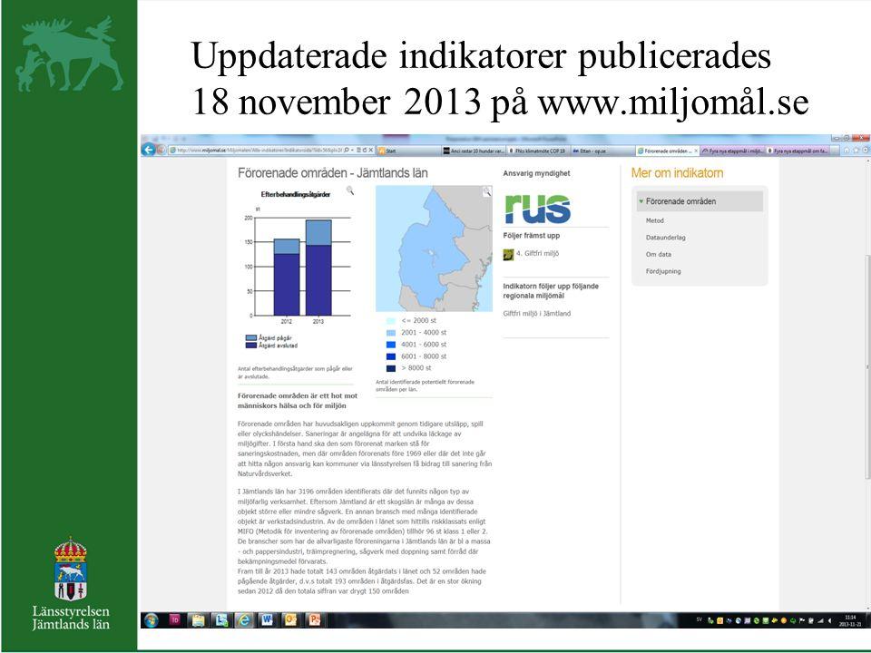 Uppdaterade indikatorer publicerades 18 november 2013 på www.miljomål.se