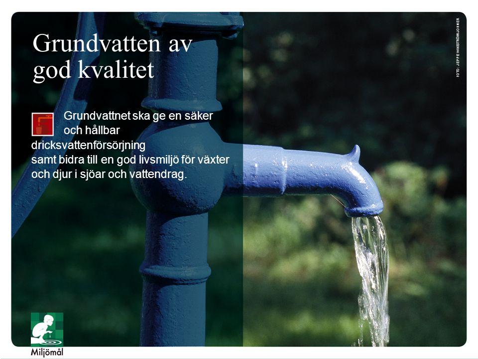 Grundvatten av god kvalitet Grundvattnet ska ge en säker och hållbar dricksvattenförsörjning samt bidra till en god livsmiljö för växter och djur i sj
