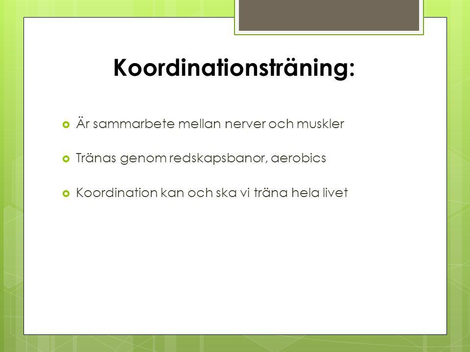 Koordinationsträning:  Är sammarbete mellan nerver och muskler  Tränas genom redskapsbanor, aerobics  Koordination kan och ska vi träna hela livet