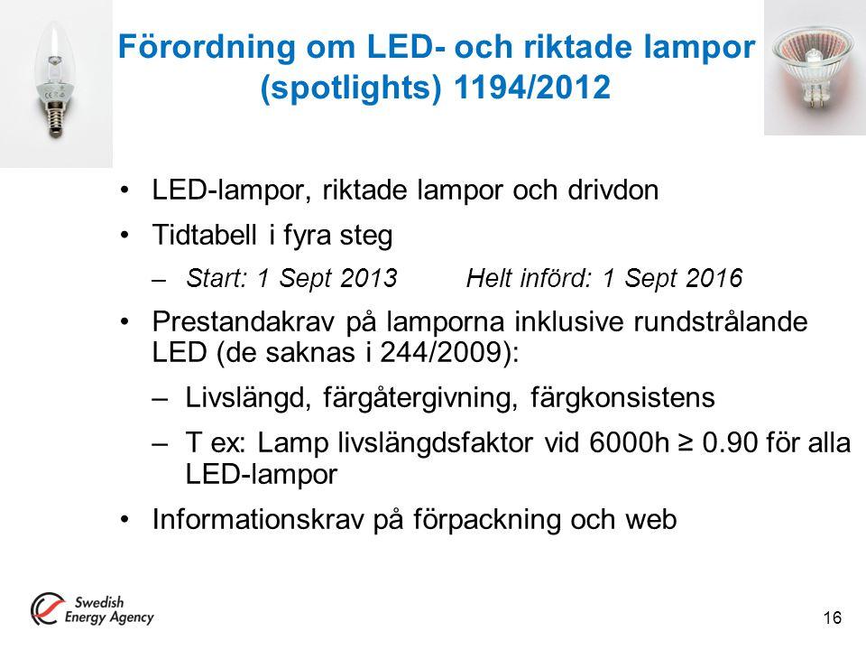 LED-lampor, riktade lampor och drivdon Tidtabell i fyra steg –Start: 1 Sept 2013Helt införd: 1 Sept 2016 Prestandakrav på lamporna inklusive rundstrål