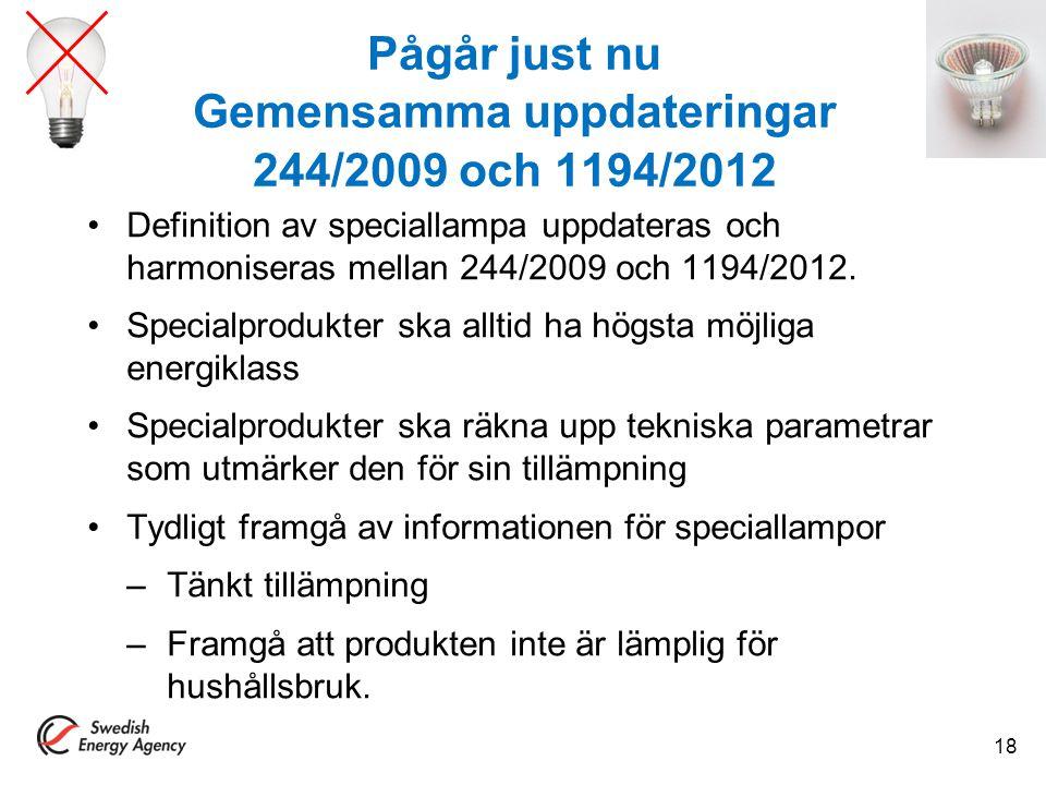 Pågår just nu Gemensamma uppdateringar 244/2009 och 1194/2012 Definition av speciallampa uppdateras och harmoniseras mellan 244/2009 och 1194/2012. Sp