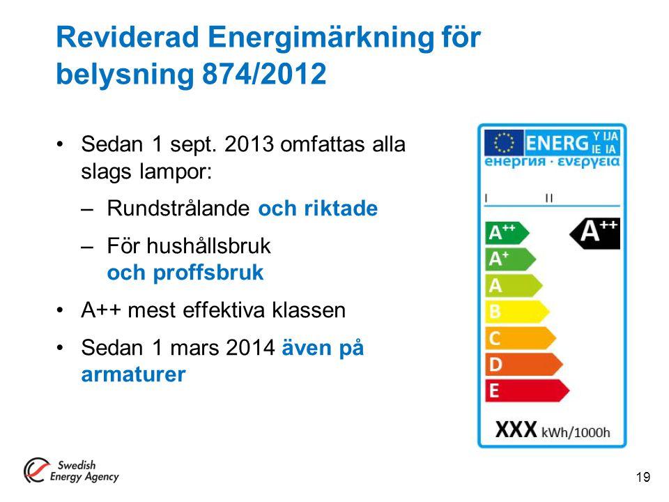 Reviderad Energimärkning för belysning 874/2012 Sedan 1 sept. 2013 omfattas alla slags lampor: –Rundstrålande och riktade –För hushållsbruk och proffs