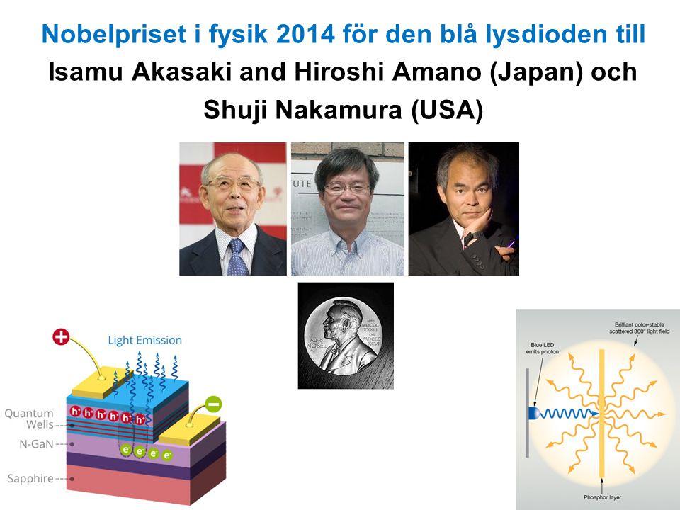 Nobelpriset i fysik 2014 för den blå lysdioden till Isamu Akasaki and Hiroshi Amano (Japan) och Shuji Nakamura (USA)