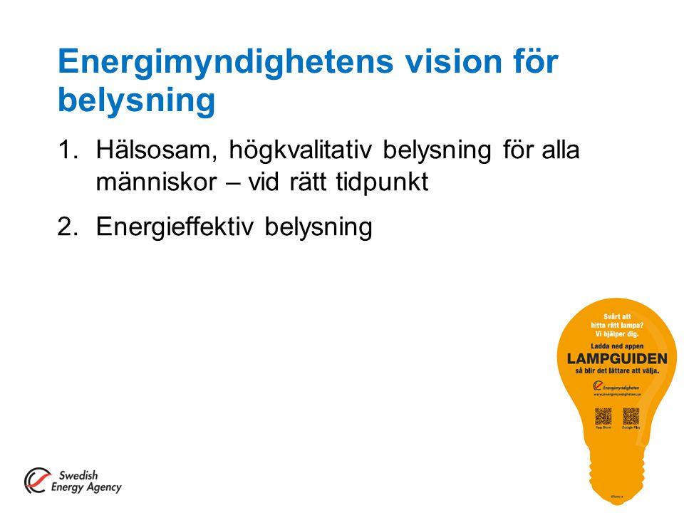 Energimyndighetens vision för belysning 1.Hälsosam, högkvalitativ belysning för alla människor – vid rätt tidpunkt 2.Energieffektiv belysning 3