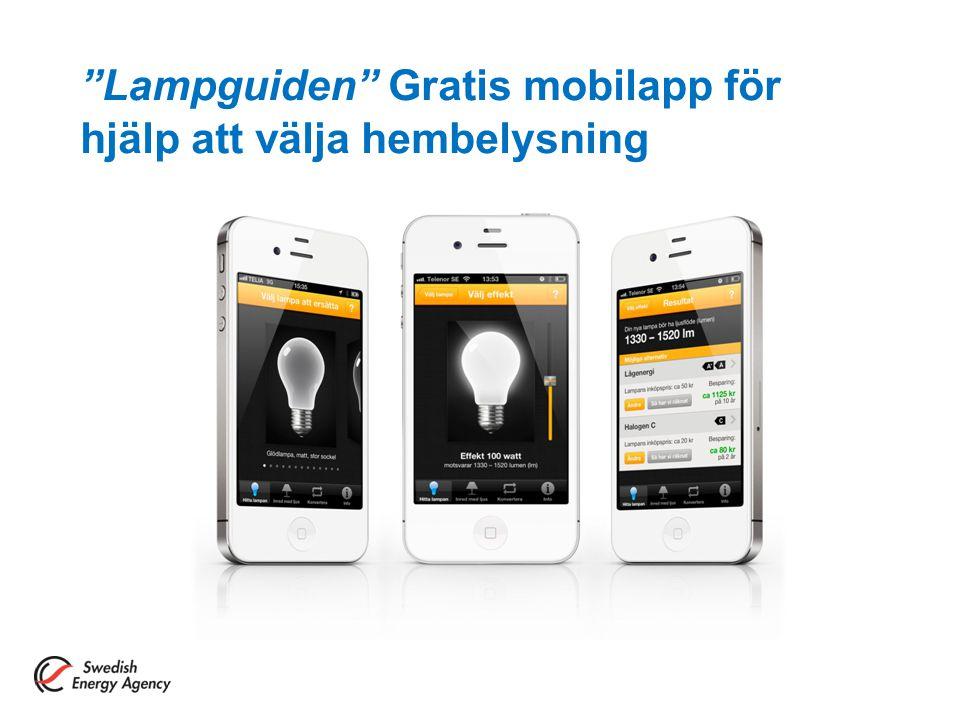 """""""Lampguiden"""" Gratis mobilapp för hjälp att välja hembelysning"""