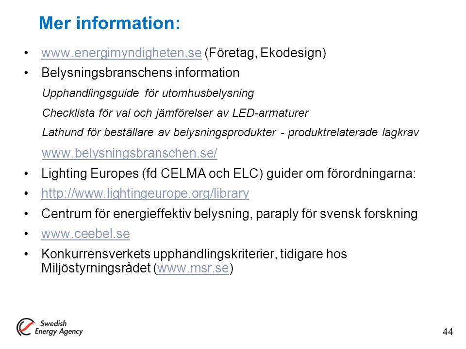 Mer information: www.energimyndigheten.se (Företag, Ekodesign)www.energimyndigheten.se Belysningsbranschens information Upphandlingsguide för utomhusb