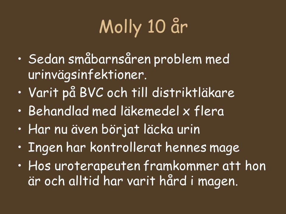 Molly 10 år Sedan småbarnsåren problem med urinvägsinfektioner. Varit på BVC och till distriktläkare Behandlad med läkemedel x flera Har nu även börja