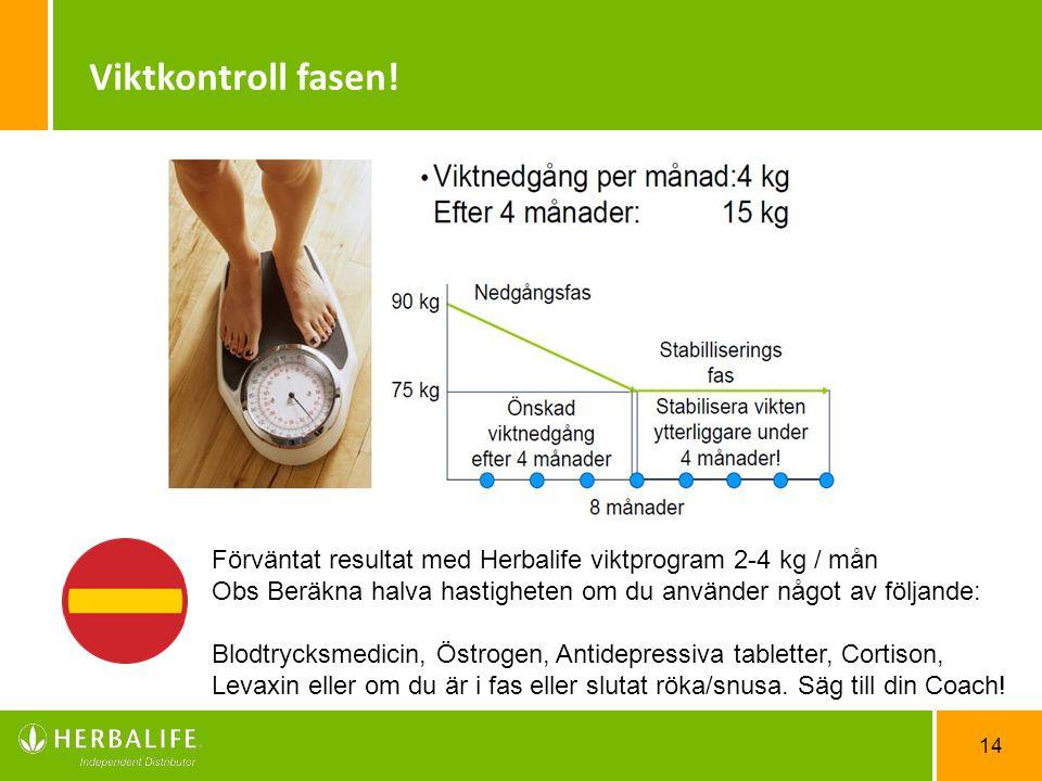 14 Viktkontroll fasen! Förväntat resultat med Herbalife viktprogram 2-4 kg / mån Obs Beräkna halva hastigheten om du använder något av följande: Blodt