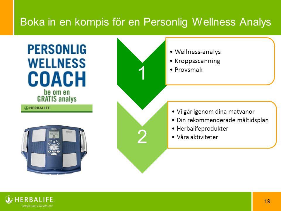 19 1 Wellness-analys Kroppsscanning Provsmak 2 Vi går igenom dina matvanor Din rekommenderade måltidsplan Herbalifeprodukter Våra aktiviteter Boka in