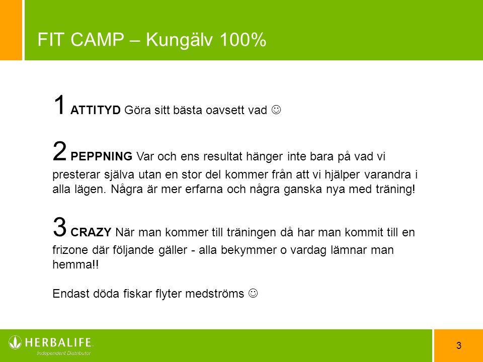 3 FIT CAMP – Kungälv 100% 1 ATTITYD Göra sitt bästa oavsett vad 2 PEPPNING Var och ens resultat hänger inte bara på vad vi presterar själva utan en st