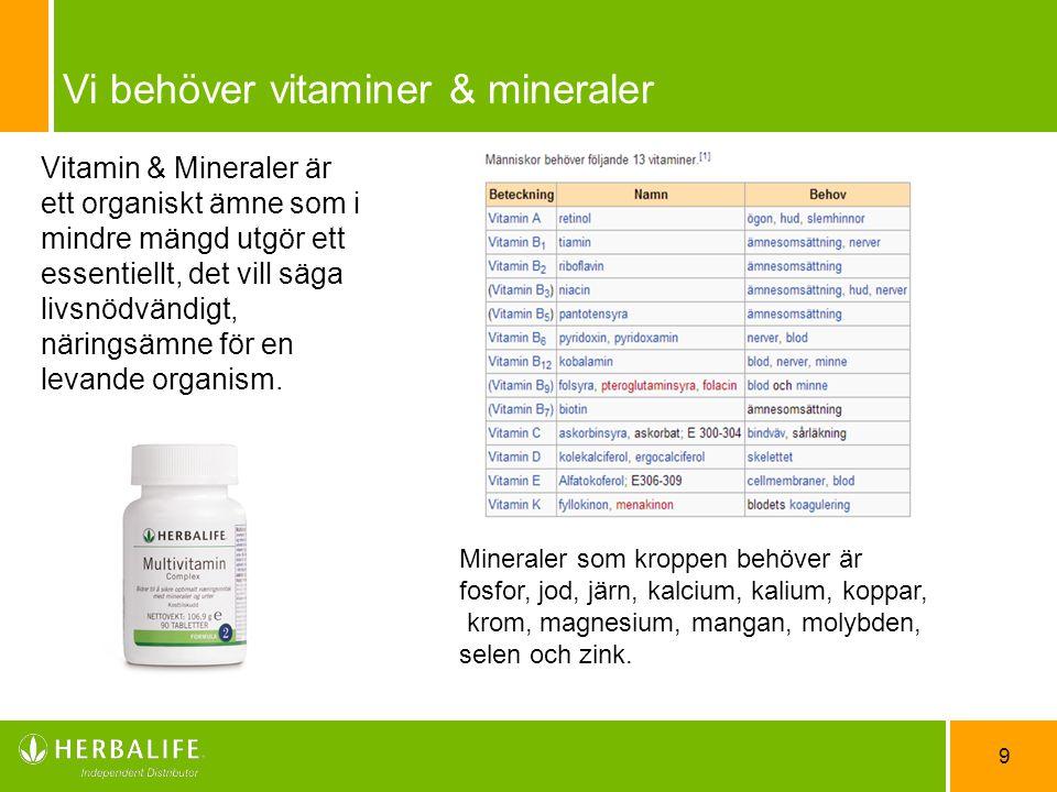 9 Vi behöver vitaminer & mineraler Vitamin & Mineraler är ett organiskt ämne som i mindre mängd utgör ett essentiellt, det vill säga livsnödvändigt, n