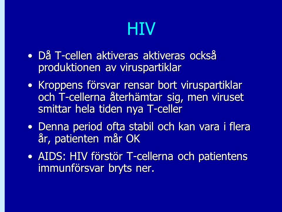 HIV Då T-cellen aktiveras aktiveras också produktionen av viruspartiklarDå T-cellen aktiveras aktiveras också produktionen av viruspartiklar Kroppens