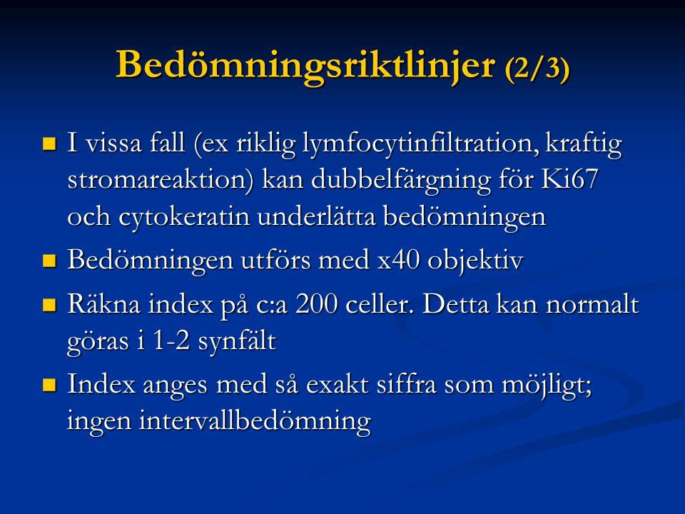 Bedömningsriktlinjer (2/3) I vissa fall (ex riklig lymfocytinfiltration, kraftig stromareaktion) kan dubbelfärgning för Ki67 och cytokeratin underlätt