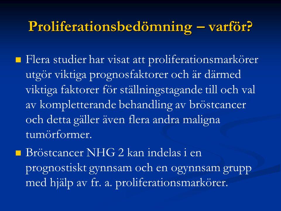 Proliferationsbedömning – varför? Flera studier har visat att proliferationsmarkörer utgör viktiga prognosfaktorer och är därmed viktiga faktorer för