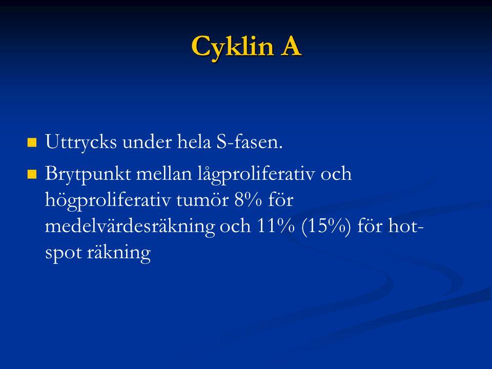 Cyklin A Uttrycks under hela S-fasen. Brytpunkt mellan lågproliferativ och högproliferativ tumör 8% för medelvärdesräkning och 11% (15%) för hot- spot
