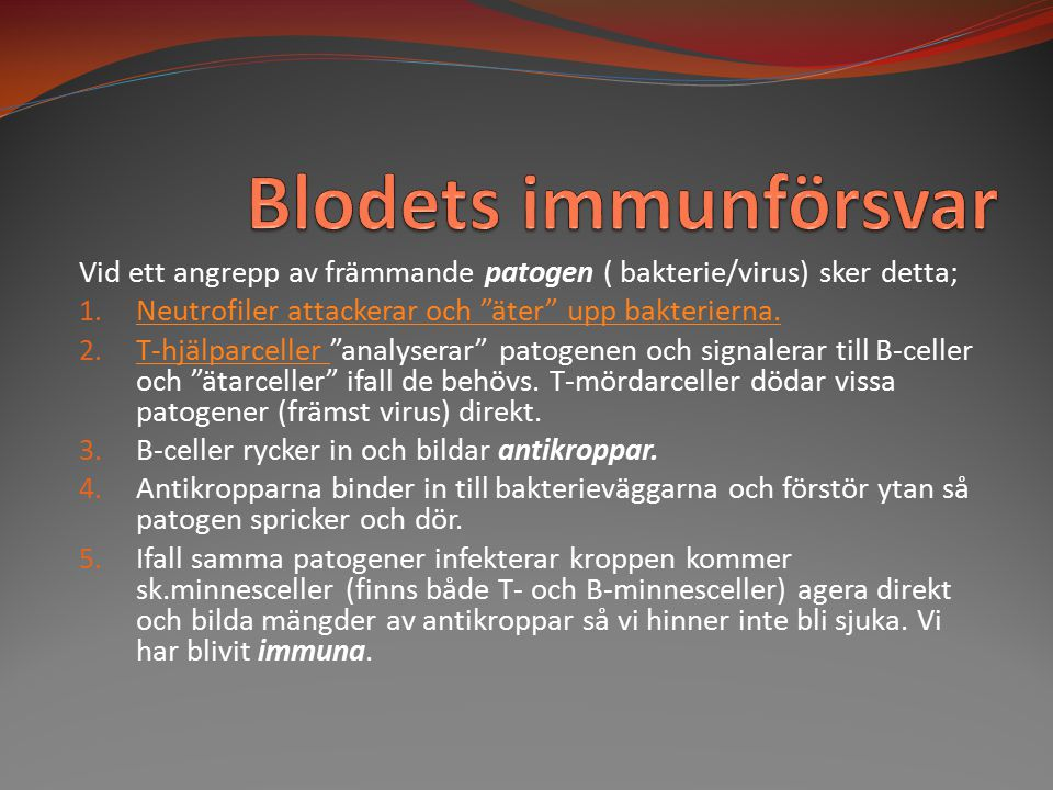 """Vid ett angrepp av främmande patogen ( bakterie/virus) sker detta; 1. Neutrofiler attackerar och """"äter"""" upp bakterierna. Neutrofiler attackerar och """"ä"""