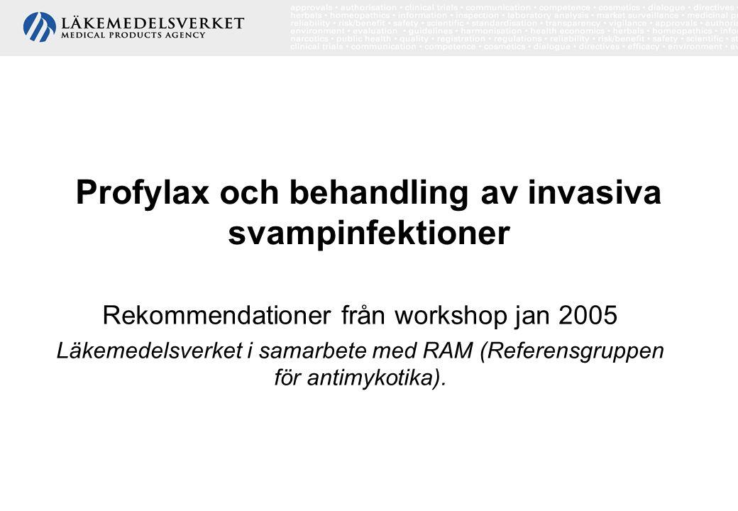 Profylax och behandling av invasiva svampinfektioner Rekommendationer från workshop jan 2005 Läkemedelsverket i samarbete med RAM (Referensgruppen för