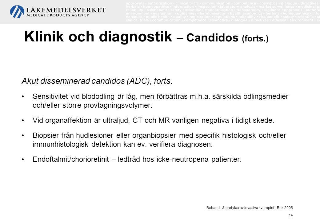 Behandl. & profylax av invasiva svampinf., Rek 2005 14 Klinik och diagnostik – Candidos (forts.) Akut disseminerad candidos (ADC), forts. Sensitivitet